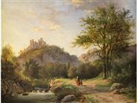 sommerliche landschaft mit burgruine und einem figurenpaar by alexander joseph daiwaille
