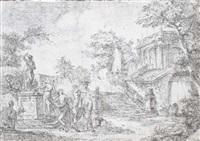 un parc avec des nymphes faisant une offrande à une statue d'un faune by pierre lelu