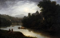 italianate moonlit river landscape (the river tiber, rome?) by thomas christopher hofland