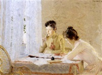 to kvinner skriver brev by frederik kolstö