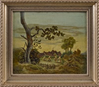landscape with a farmhouse by ben austrian