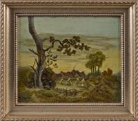 landscape with a farmhouse by ben austrian