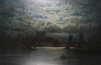thames view, with rochester castle in the distance by adolphe ragon
