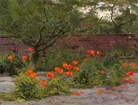 klaprozen bij een tuinmuur by willem matthijs maris