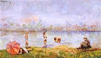 bañándose en el río by ramon de campmany i montaner