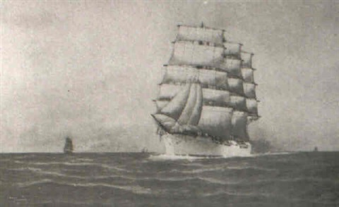 down channel (the 'abraham ryberg' under full sail) by g. gordon arnold