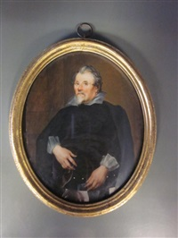 portrait of a gentleman, called old franks, wearing black coat and white collar and holding a letter in his left hand by margaret, lady bingham