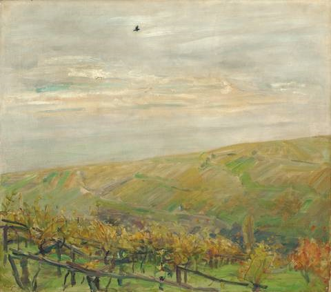 landschaft mit fliegendem vogel blick ins leinsweiler tal im herbst by max slevogt