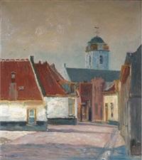 oud straatje in katwijk aan zee: a view of katwijk in summer (+ a flower still life; 2 works) by anton smeerdijk