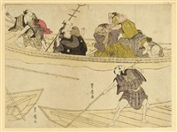 ferry boat on sumida river (+ outing to enshima, c. 1804; 2 works, koban & oban) by utagawa toyohiro
