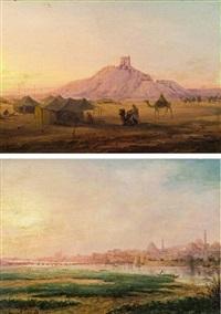 pendants: blick auf den tempel von borsippa (babylon/irak); blick auf istanbul (pair) by alexandre svoboda