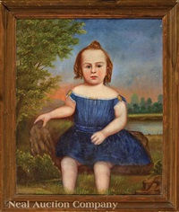 portrait of a young girl seated on the banks of a pond by american school (19)