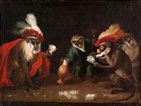 kortspelande apor by abraham teniers