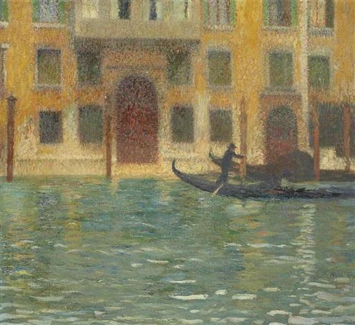 deux gondoles devant un palais vénitien by henri jean guillaume martin