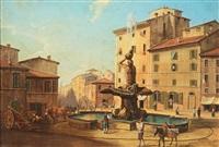 piazza barberini a roma by gustaf wilhelm palm