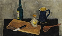 still life with chopping board and utensils by c. marks