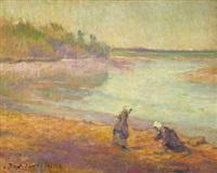 pêche à pied sur le bord du blavet à bellevue by jean bertrand pegot-ogier