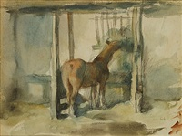 paard in de stal by albert van dyck