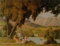 badende an einem see in arkadischer landschaft by jean arnavielle