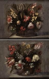 canastillas con flores (pair) by juan de arellano