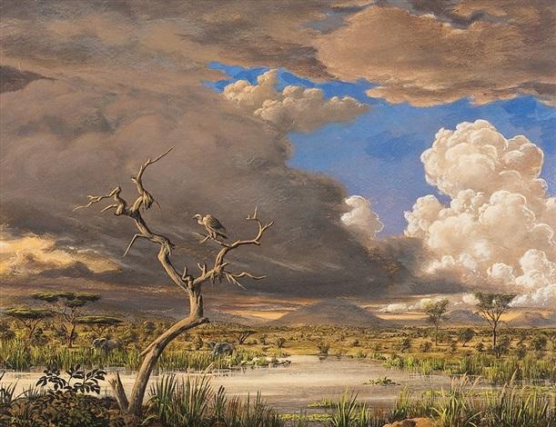 Afrikanische Steppenlandschaft mit Elefanten by Werner Peiner on