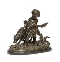 figural group of a boy and a setter by auguste joseph peiffer