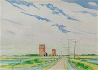 grain elevators and summer skies by robert newton hurley