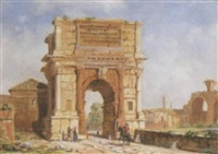 the arch of titus - entrance to the forum, rome by jacob george strutt
