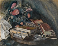 still life with books and pink flowers by nikolai vladimirovich remizov