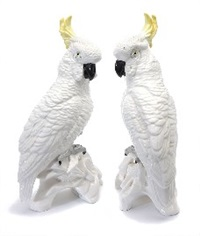 sulphur-crested cockatoos (pair)(designed by j.t. jones) by staffordshire