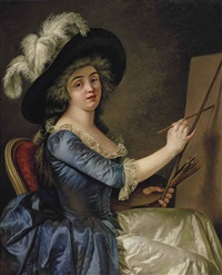 portrait of a female painter a her easel, quarter-length, in a blue dress with a brown hat by adélaïde labille-guiard