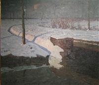 brug in een winterlandschap by jules verstreken