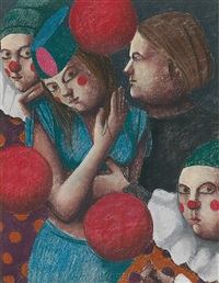 girl with clowns by louise scott