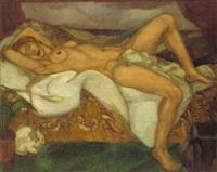 weiblicher akt auf dem sofa liegend by herrmann lismann