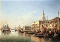 venice: the riva degli schiavoni, looking west with the punta della dogana and santa maria della salute beyond by julius edward w. helfft