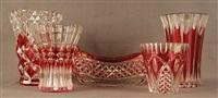 lot se composant de quatre vases et une coupe en cristal clair taillé doublé rubis (set of 5) by val saint-lambert
