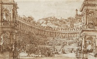 theater coulisse depicting an amphitheater by louis jean desprez