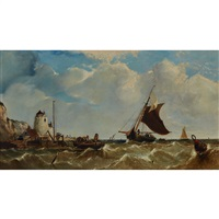 FISHING BOATS COMING AND GOING FROM A BUSY..., 1862