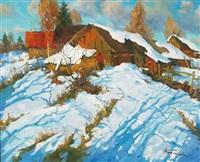 hillside farmhouse, winter by alexandre kremer