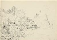 badische landschaft. kleines landhaus an einem bewaldeten hang in einem tal by carl morgenstern