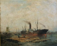 loading timber in rotterdam by jan van der linde