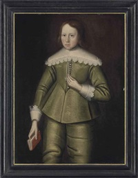 portrait of a boy, three-quarter-length, in a green doublet and hose, with lace collar and cuffs, holding a book in his right hand by anglo-dutch school (17)