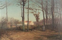 winter twilight border of the woods: landscape near st leger, france by charles henry hayden