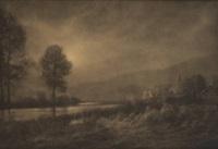 coucher de soleil sur la meuse by léonard misonne