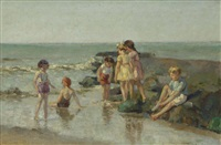 children playing in the surf by louis soonius