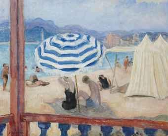 cannes parasol bleu et tentes by henri lebasque