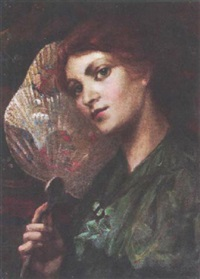 young woman holding a japanese fan by ugolin (allen) allan