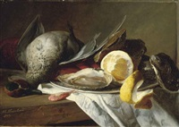 still life of a duck, a shrimp and a plate of oysters by theude grönland