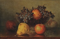 still life with fruit in a footed glass bowl by frederick s. batcheller
