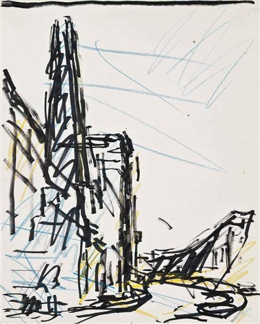 study for chimney in mornington crescent by frank auerbach